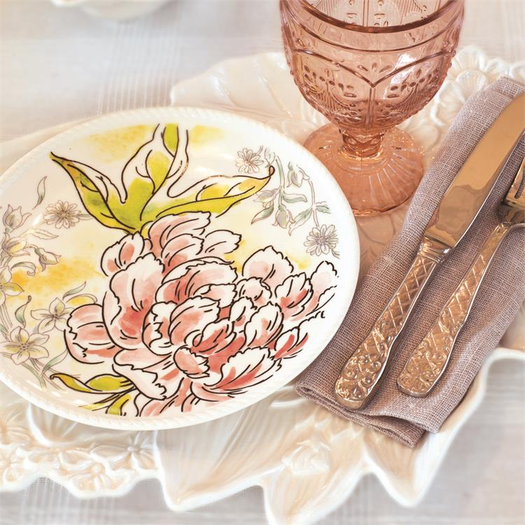 Fitz and Floyd SAVANNAH HOME PINK PEONY Accent Plate I