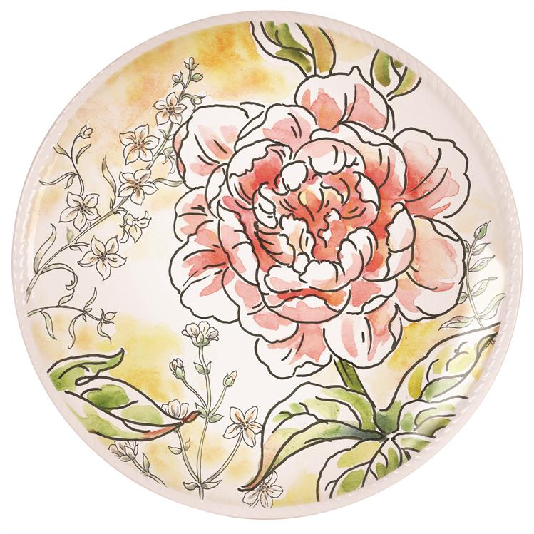 Fitz and Floyd SAVANNAH HOME PINK PEONY Accent Plate II