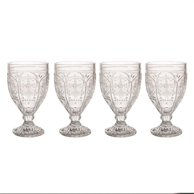 Fitz and Floyd TRESTLE Goblet Set of 4 Clear