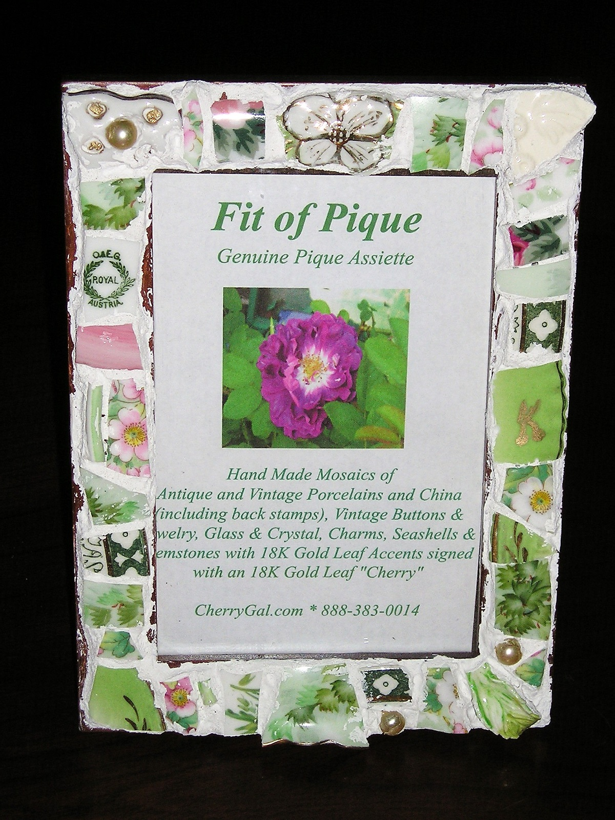 Fit Of Pique Genuine Pique Assiette Photo Frame 4 x 6 Royal Austria Green