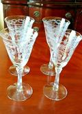 "Fostoria Romance Blown & Etched Water Goblets Stems 7.5"" Set of 4 c.1942 USA"