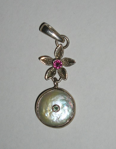 Garnet Coin Pearl Flower Pendant Sterling Artisan Hand Made USA