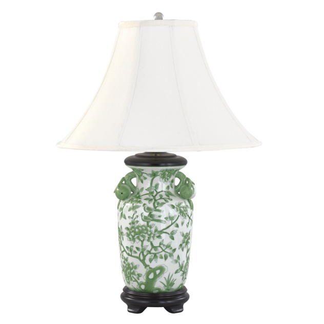 Andrea by Sadek Green Peony Birds Fruit Handles Asian Style Porcelain Lamp