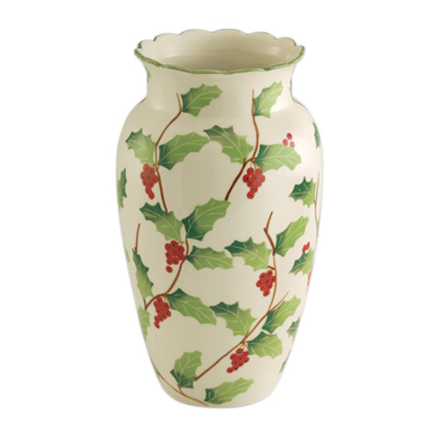 Porcelain Vase HOLLY BERRIES Hand Painted Sadek #16795