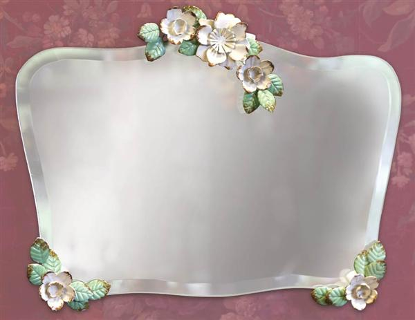 Floral Italian Tole Style Beveled Mirror / Tray
