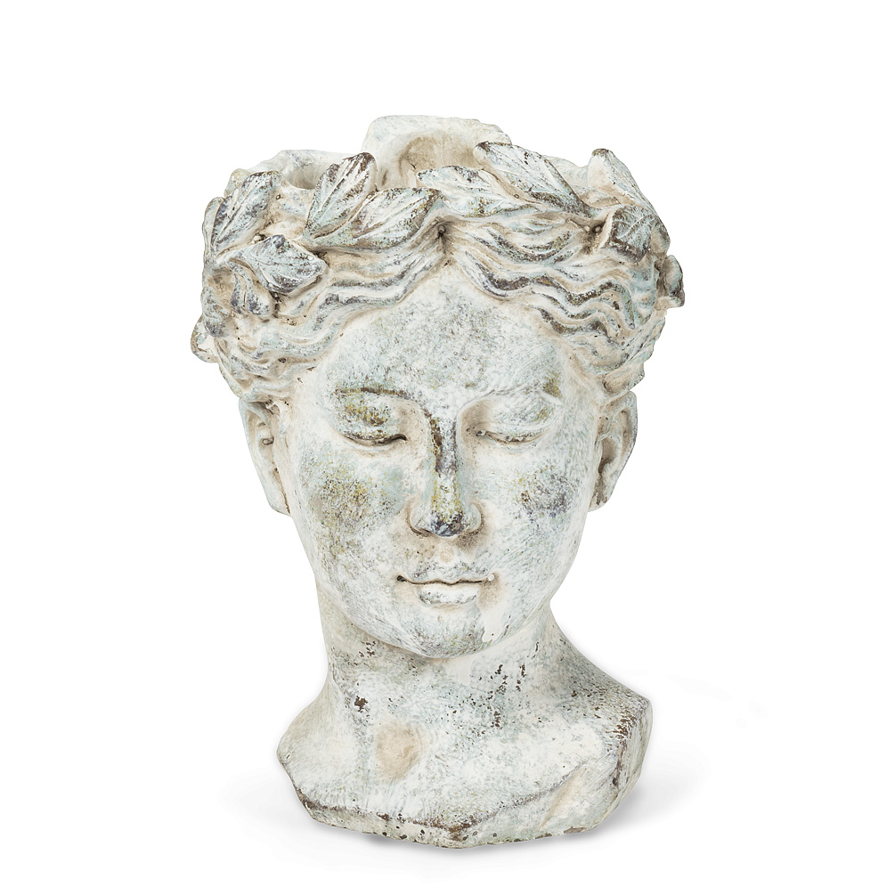 Classic GreekStyle Goddess Woman Head Planter Large 85 Concrete Waterproof