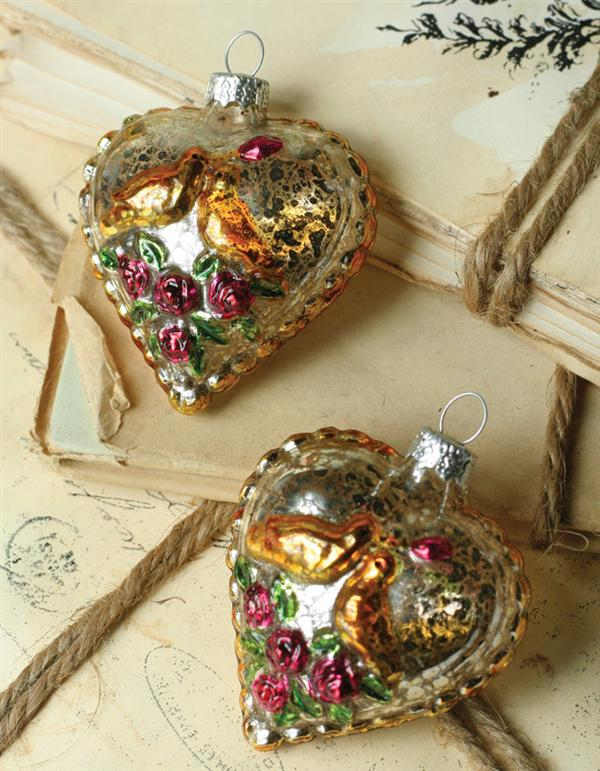 LOVE BIRDS & ROSES Pair of Delicate Antiqued Glass Ornaments Reproductions
