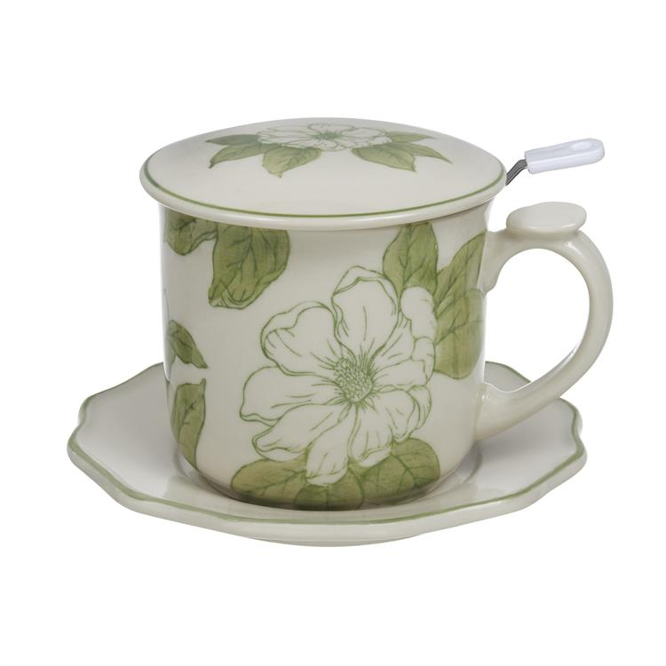 Magnolia Covered Mug 4 Pc Set Porcelain Sadek