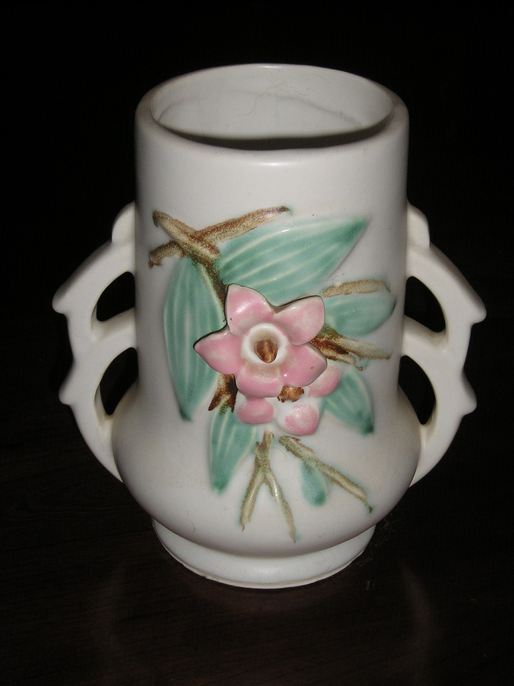McCoy Pottery Blossomtime Deco Double Handle Vase c.1940s Signed