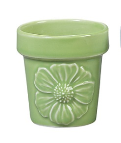 Mini Porcelain Planter Vase Andrea by Sadek Beautiful Embossed Design Green
