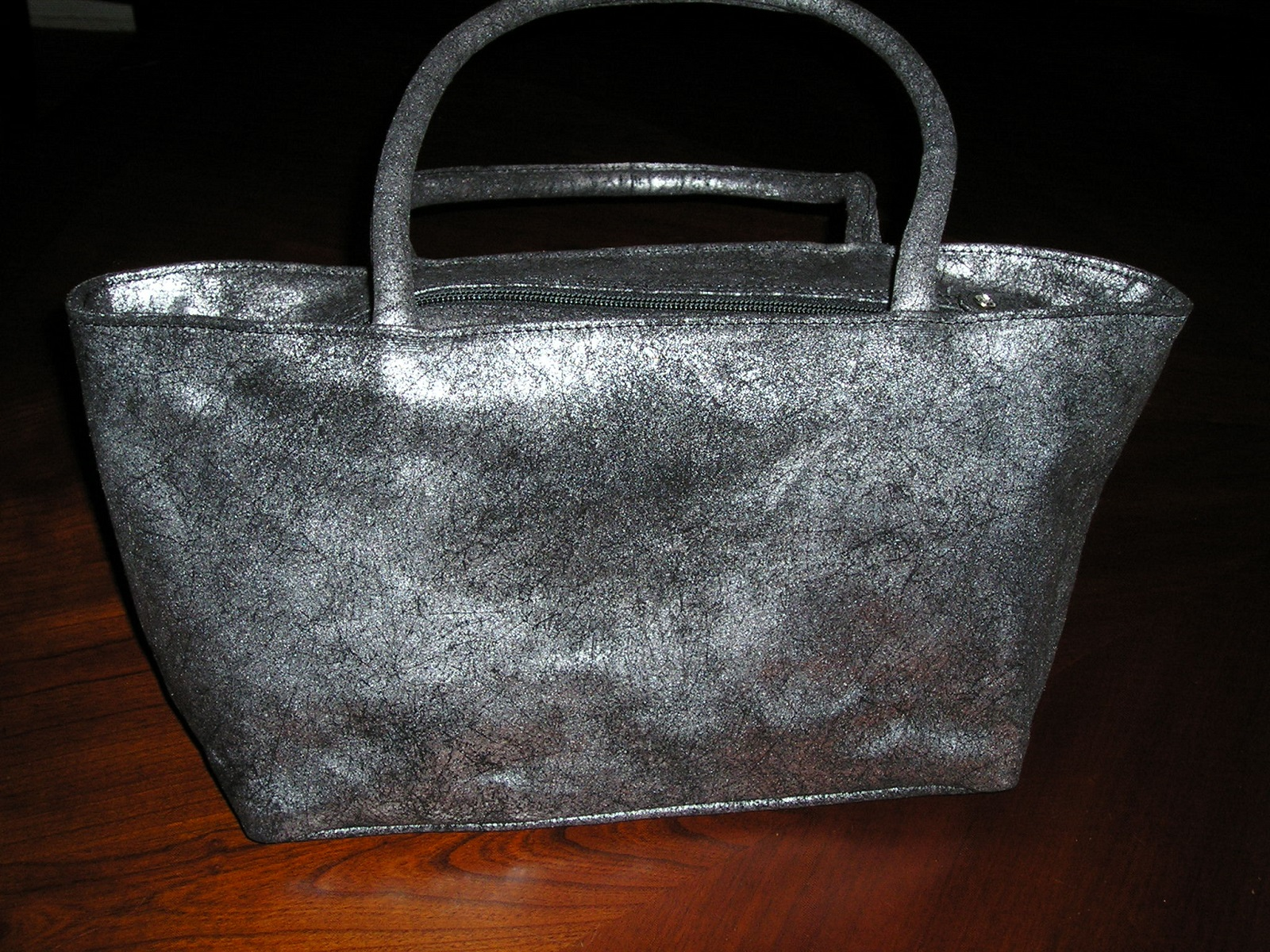 Olivia Riegel Distressed Leather Asia Bag SilverBlack