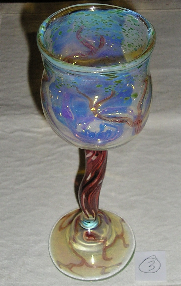 OT Glass Lamp Worked Tree Goblet Functional Art Glass Signed USA 20153