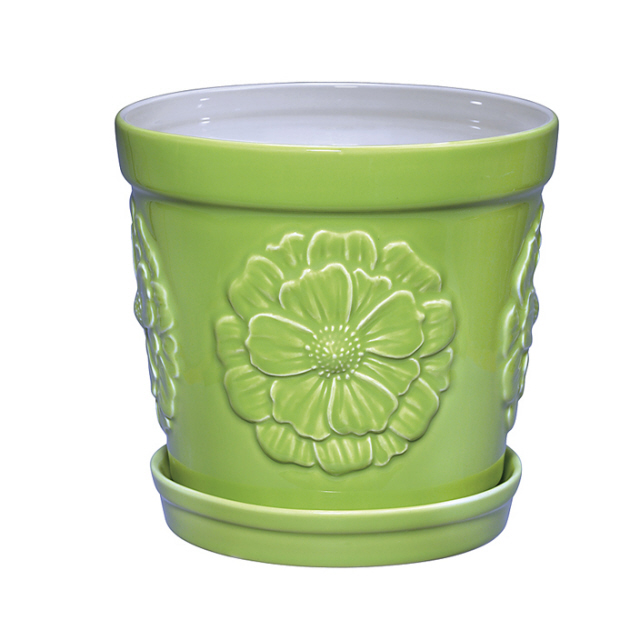 Peony Planter With Tray Green Sadek #20557  Beautiful Embossed Design