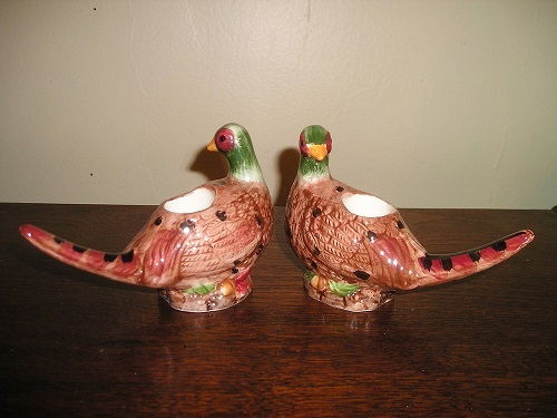 PHEASANT Candle Holders Pair J Willfred / Sadek # 61221 Ceramic Hand Painted