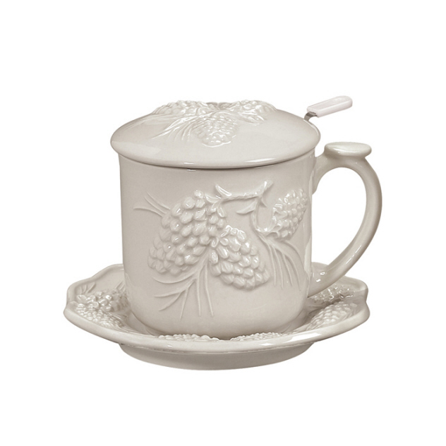 Andrea by Sadek PINECONE Lidded Mug Set Cream #20447