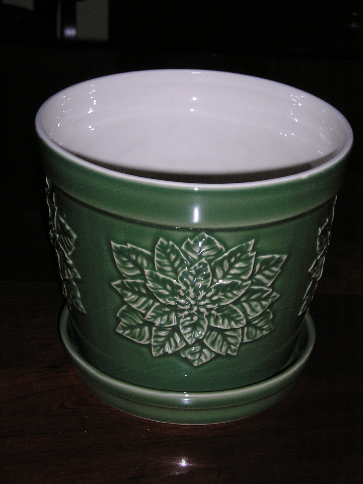 Poinsettia Planter with Tray Embossed Design Andrea Sadek Porcelain Green 20976