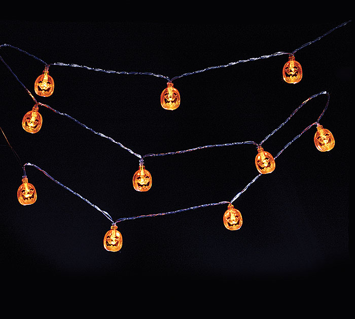 Jack O Lantern Pumpkin LED String Lights 10 Halloween 5'+ Battery Pack