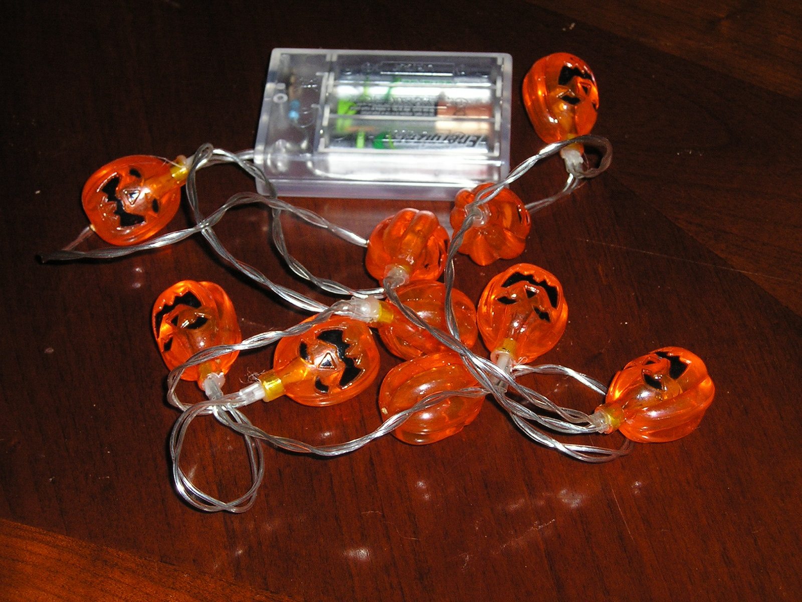 Jack O Lantern Pumpkin LED String Lights 10 Halloween 5 Battery Pack