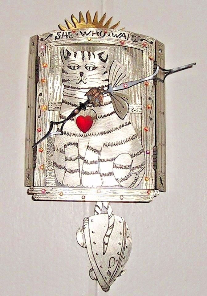 "Ramsay Crowe Pendulum Clock ""SHE WHO WAITS"" Cat Mouse German Silver New $120"