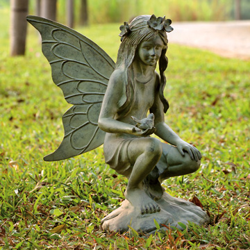 Garden Fairy Kneeling with Bird Garden Statue Decorative