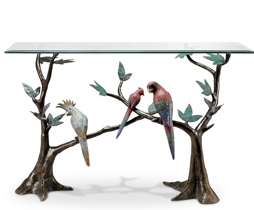 Tropical Birds Console Table Brass & Glass