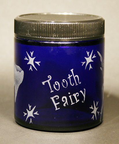 Etched Tooth Fairy Jar Cobalt Blue Glass