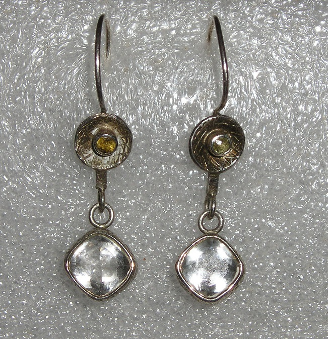 WHITE TOPAZ & Citrine Sterling Drop Earrings