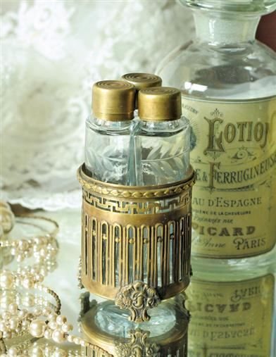 Victorian Vanity Vials 3 Etched Glass with Ormulu Base