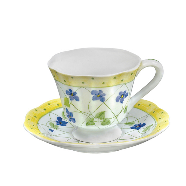 YELLOW POLKA DOT Porcelain Footed Cup and Saucer Set Sadek #21130