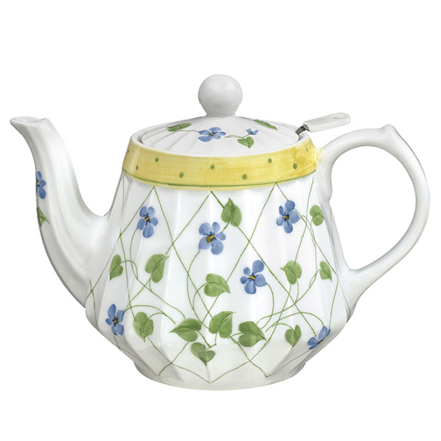 YELLOW POLKA DOT Teapot Fluted Porcelain with Diffuser SADEK #21126